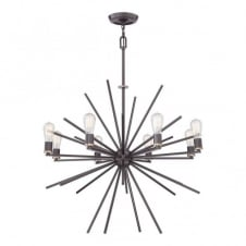 CARNEGIE industrial vintage style 8lt chandelier pendant in a bronze finish