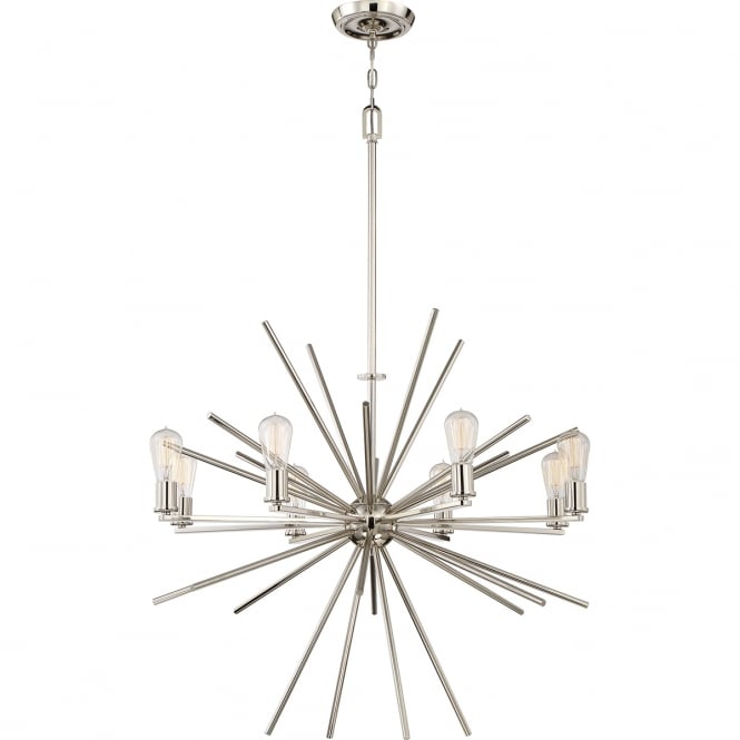 CARNEGIE industrial vintage style 8lt chandelier pendant in a silver finish