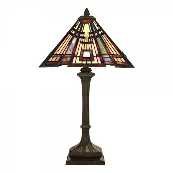 Tiffany Style Table Lamp With Bronze Base And Geometric