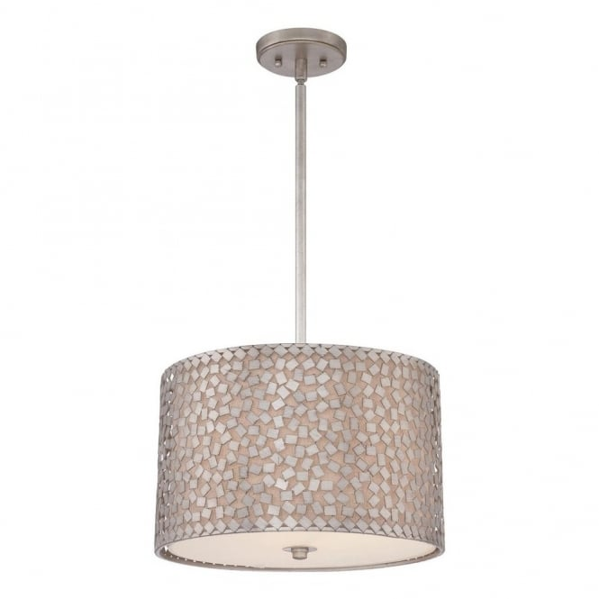 Quoizel CONFETTI contemporary ceiling pendant with silver confetti collated outer shade with off white inner shade (medium)