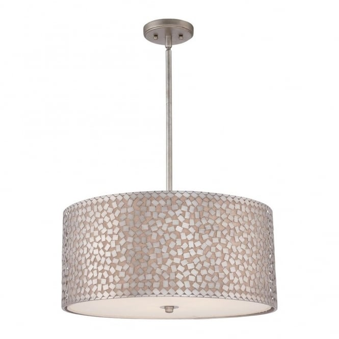 Quoizel CONFETTI contemporary ceiling pendant with silver confetti collated outer shade with off white inner shade