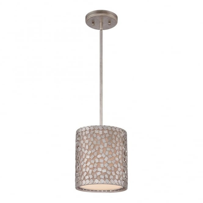 Quoizel CONFETTI contemporary mini ceiling pendant with silver confetti collated outer shade with off white inner shade