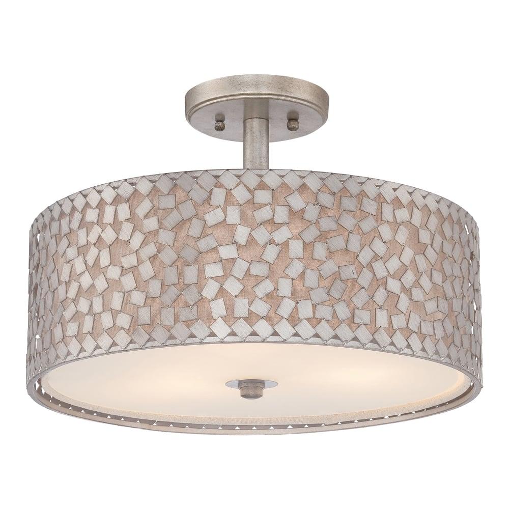 Modern silver confetti pattern semi flush ceiling light modern semi flush ceiling light with silver confetti outer shade aloadofball Choice Image