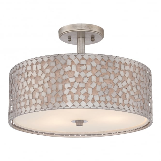 Quoizel CONFETTI contemporary semi flush ceiling light with silver confetti collated outer shade with off white inner shade