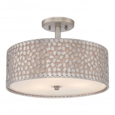 CONFETTI contemporary semi flush ceiling light with silver confetti collated outer shade with off white inner shade