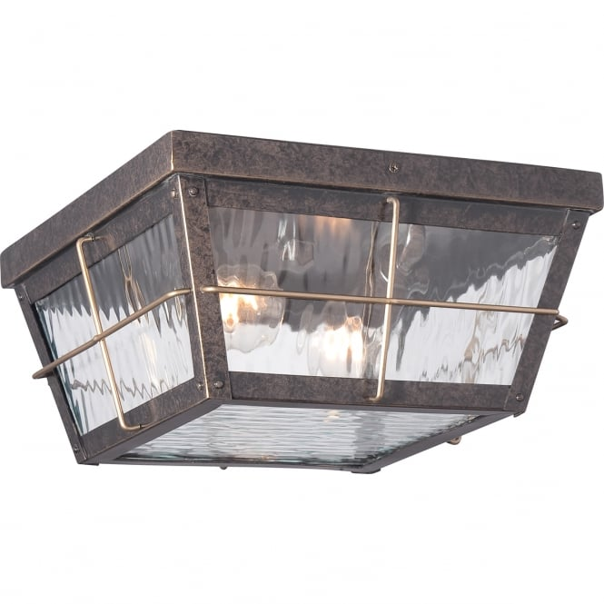 Quoizel CORTLAND rustic exterior flush porch light in imperial bronze