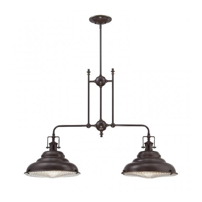 Industrial Bronze 2 Light Kitchen Island Ceiling Light