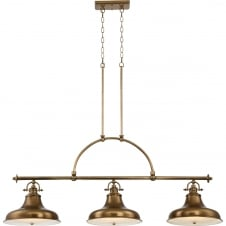 weathered brass 3 light pendant bar