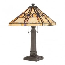 Tiffany style table lamp with bronze base and geometric patterned glass shade