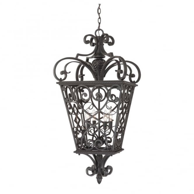 Quoizel FORT QUINN decorative traditional fretwork 4lt chain lantern in black finish