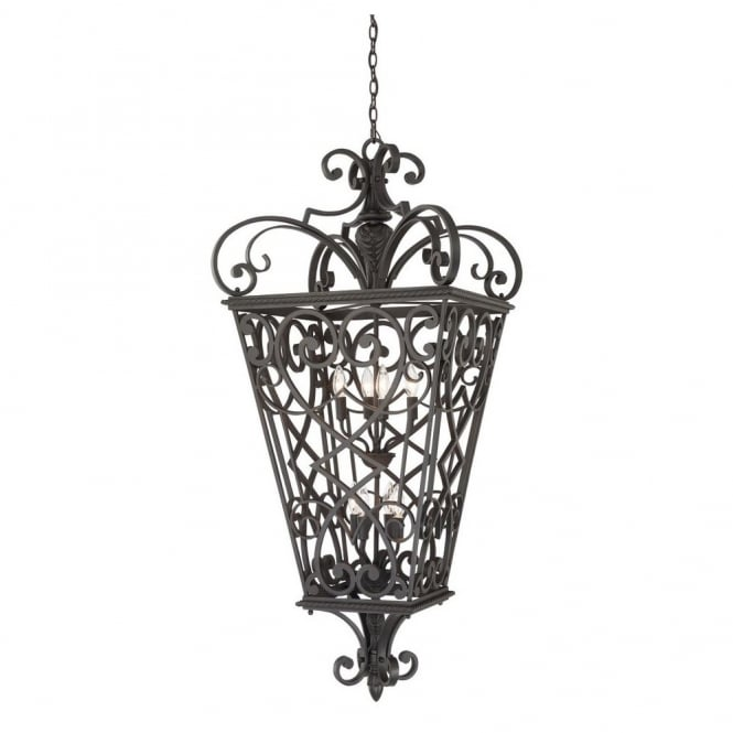 FORT QUINN decorative traditional fretwork 8lt chain lantern in black finish