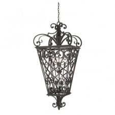 traditional black fretwork hanging lantern pendant