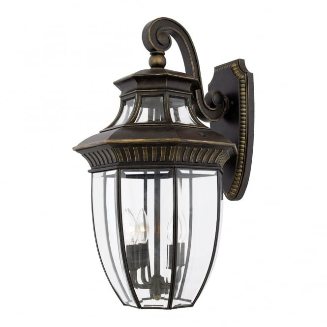 GEORGETOWN traditional bevelled glass outdoor wall lantern in bronze (large)