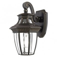 bronze outdoor coach lantern with clear beveled glass panels