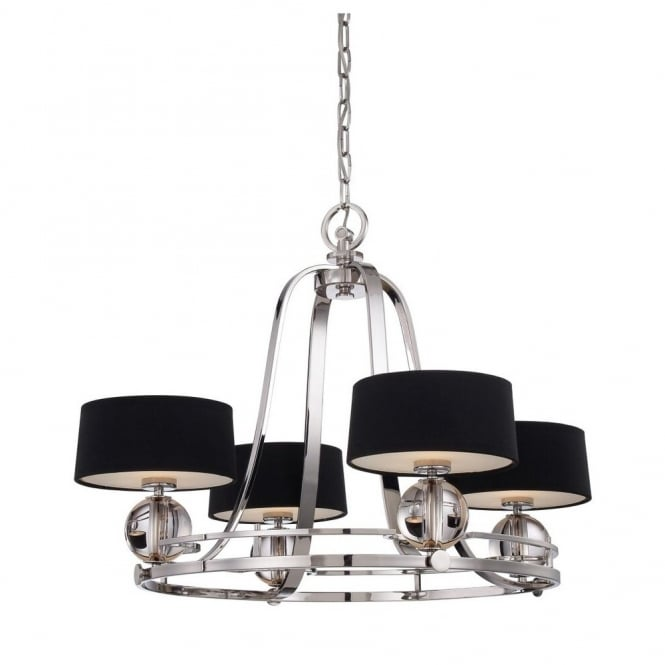 Quoizel GOTHAM contemporary 4lt chandleier in imperial silver with black shades each with opal glass diffusers