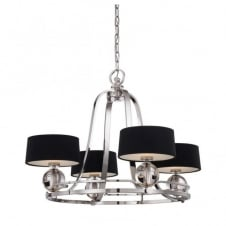 modern 4 light chandelier in silver with black shades and glass detail