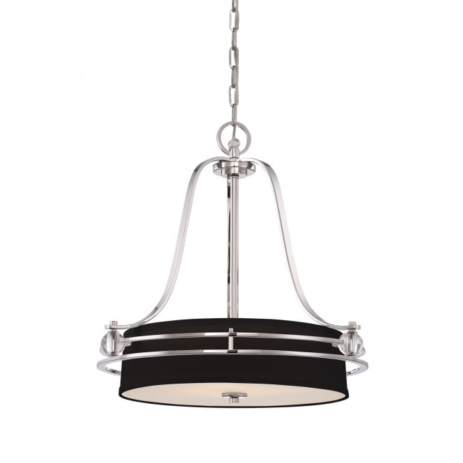 Quoizel GOTHAM contemporary ceiling pendant in imperial silver with round black shade and opal glass diffuser