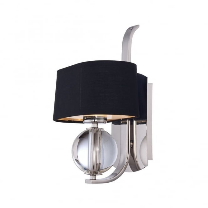 Quoizel GOTHAM contemporary wall light in imperial silver with black shade