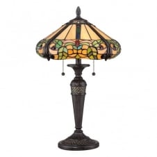 Tiffany style table lamp with bronze base and floral amber glass shade