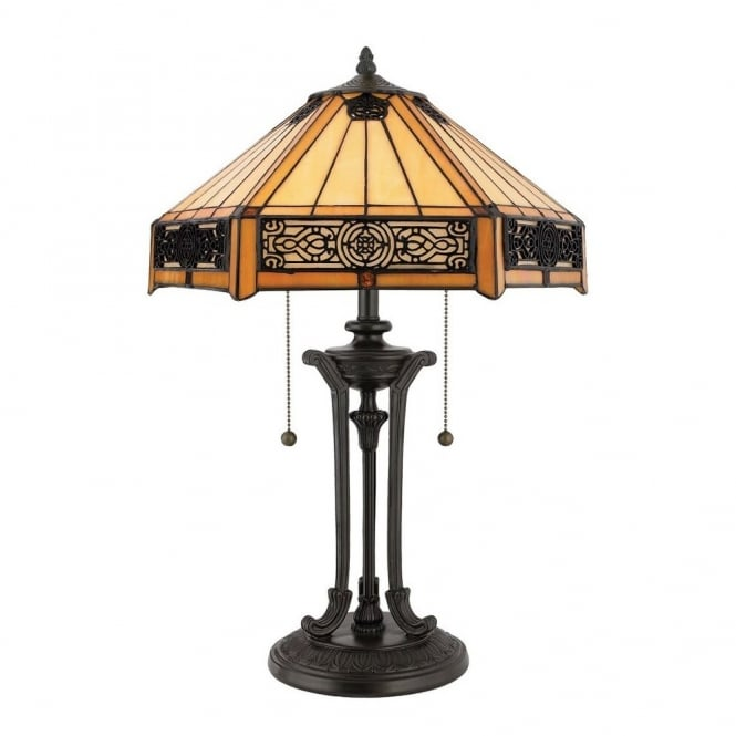 Indus Tiffany Table Lamp With Bronze Base And Amber Glass Shade With Intricate Bronze Detailing