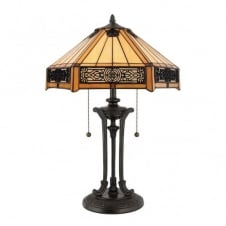 Tiffany style table lamp with bronze base and amber glass shade