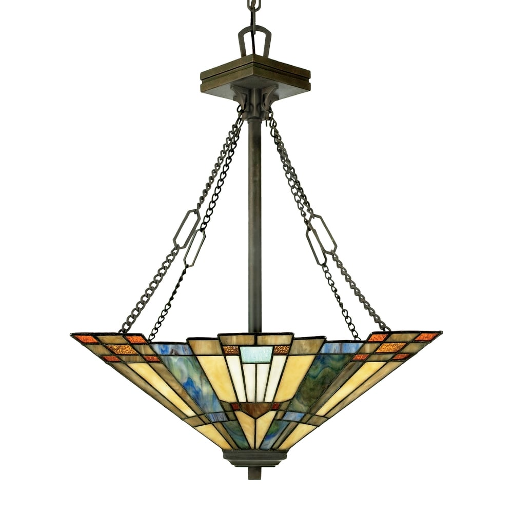 bronze pd tiffany mission in flora mini style portfolio shop pendant bell stained glass