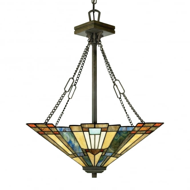 Quoizel INGLENOOK Tiffany ceiling pendant uplighter with bronze suspension and Art Deco glass panel shade
