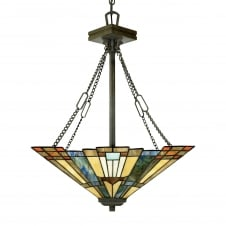 Tiffany style ceiling pendant uplighter with bronze suspension