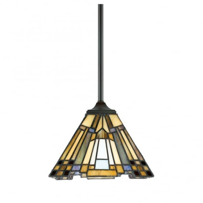 Quoizel INGLENOOK Tiffany mini ceiling pendant with bronze suspension and Art Deco glass panel shade