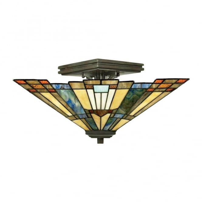 Quoizel INGLENOOK Tiffany semi flush ceiling light with bronze fixture and Art Deco glass panel shade