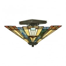 Tiffany style semi flush ceiling light with amber, green and blue glass shade