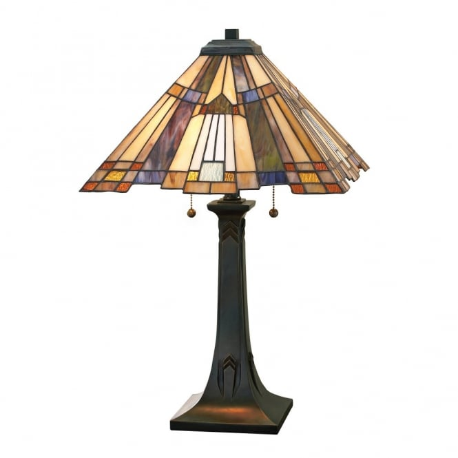 Tiffany Table Lamp With Bronze Base And Art Deco Glass Shade