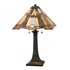Tiffany style table lamp with bronze base and Art Deco glass shade