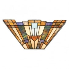 Tiffany style Art Deco glass wall washer with geometric pattern