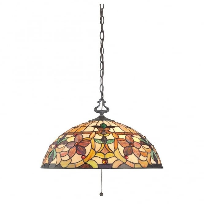 Quoizel KAMI Tiffany decorative floral ceiling pendant light with bronze suspension