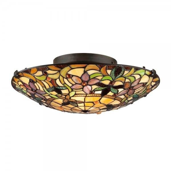 Tiffany Style Flush Ceiling Light With Floral Glass Shade