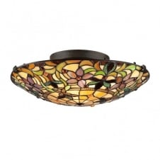 KAMI Tiffany decorative flush fit floral design ceiling light for low ceilings