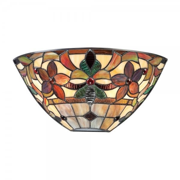Decorative Glass Wall Lights : Tiffany Style Glass Wall Washer with Floral Design Glass Shade
