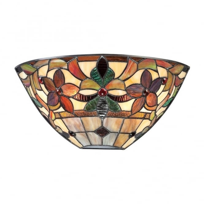 Quoizel KAMI Tiffany glass wall washer light with decorative floral patterns
