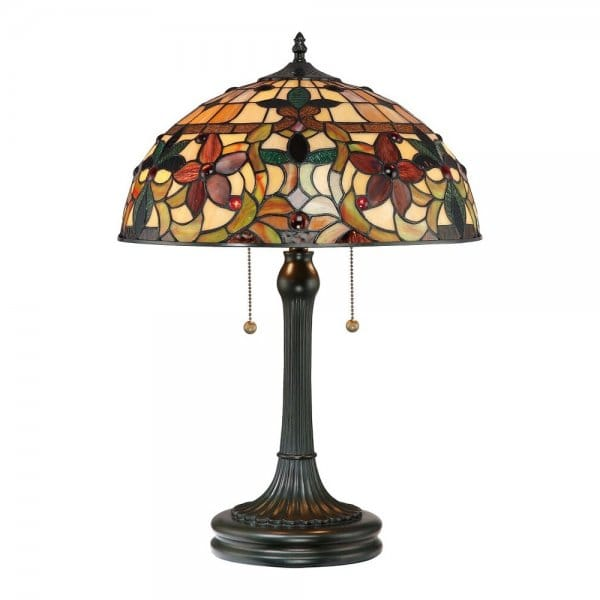 Tiffany Style Table Lamp With Bronze Base And Floral Glass
