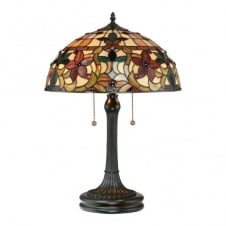 Tiffany table lamp with bronze base and floral glass shade