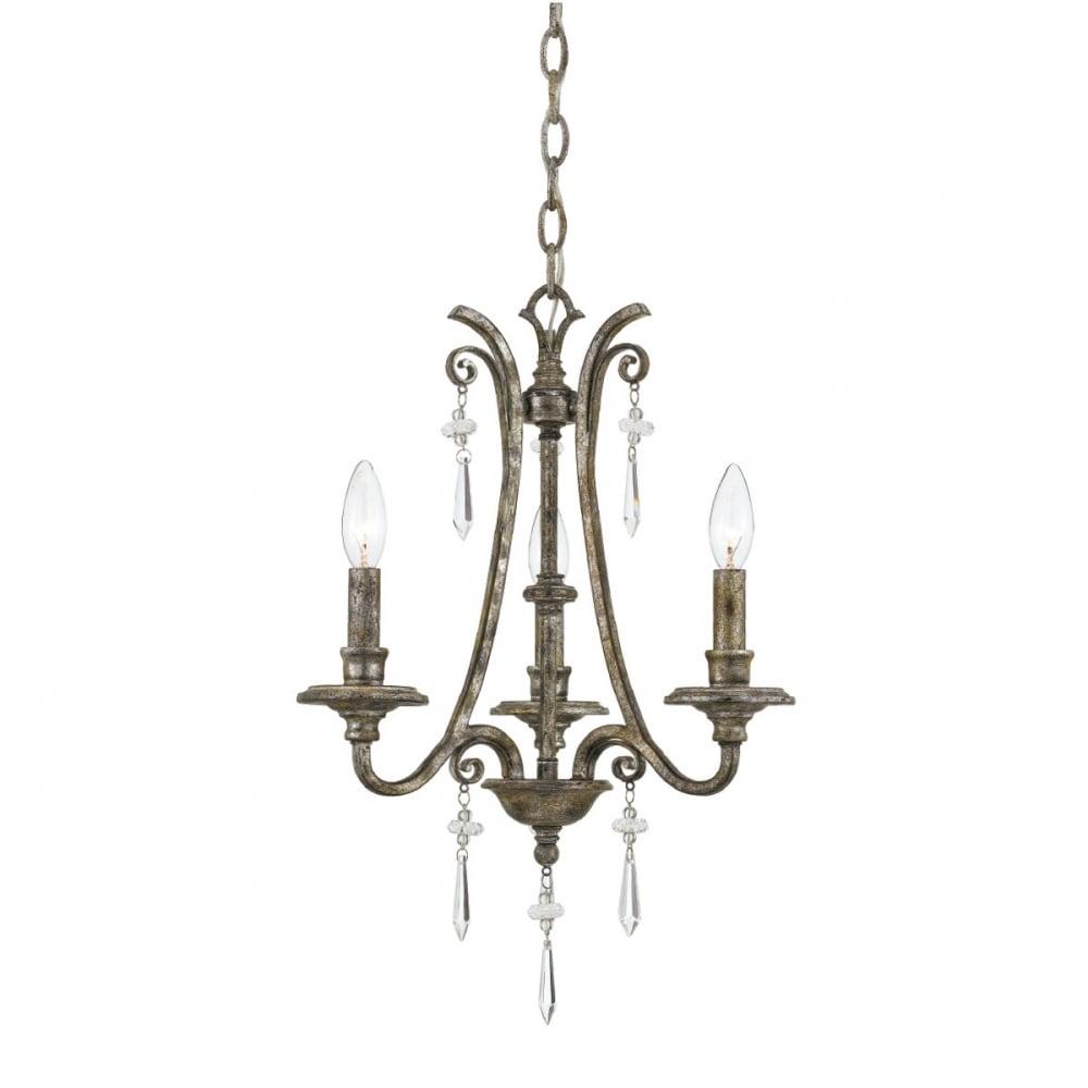 Modern Chandelier For High Ceiling: Modern Classic Mottled Silver 3 Light Chandelier