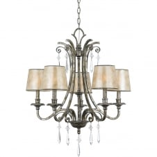 5 light chandelier in mottled silver with mica shades