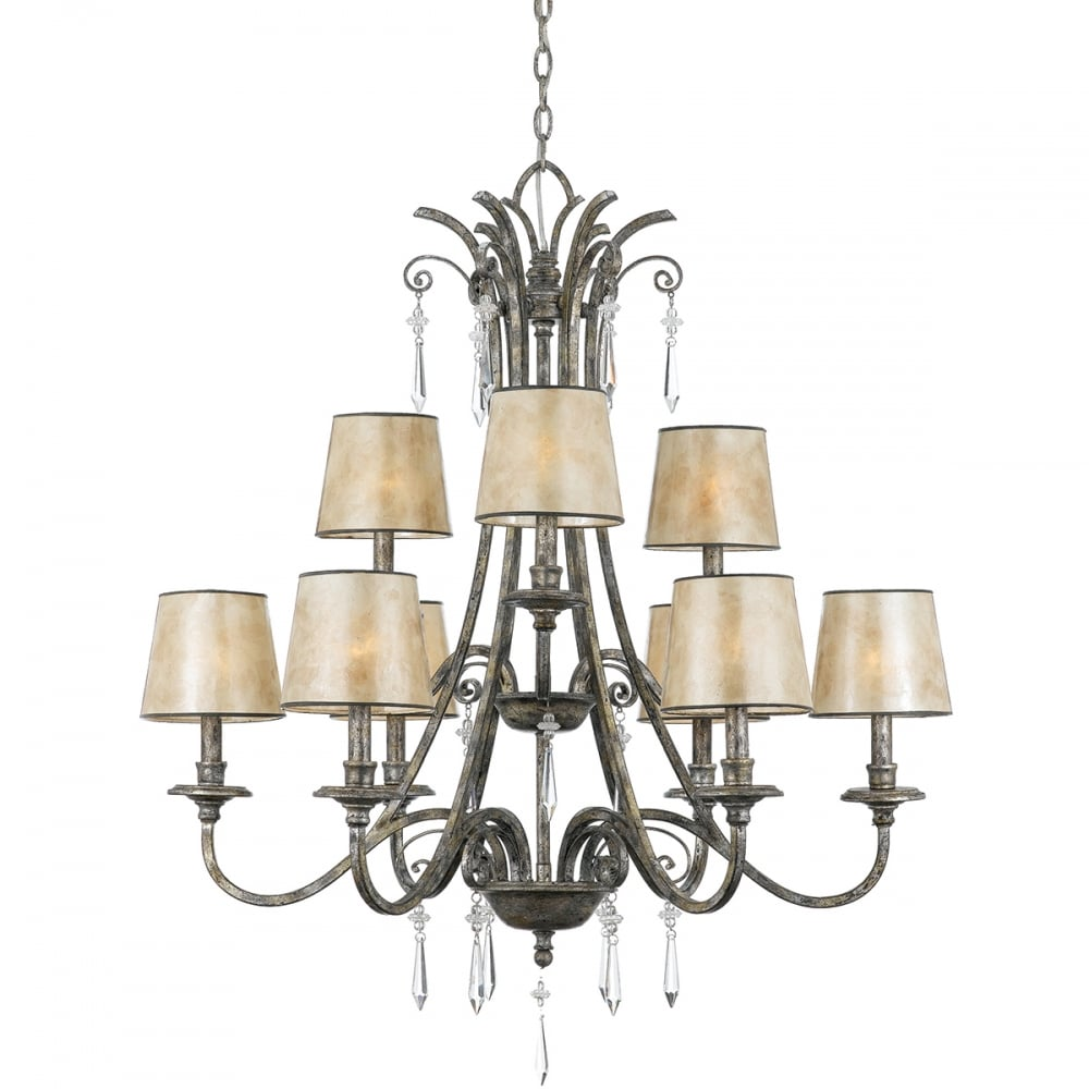 Modern Chandelier For High Ceiling: Modern Classic Mottled Silver Chandelier With Mica Shades