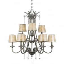 9 light chandelier in mottled silver with mica shades