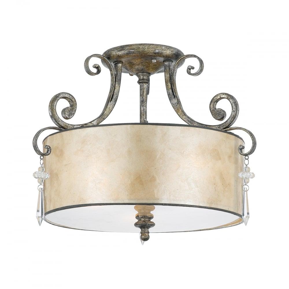 Modern classic ceiling light in mottled silver with mica shade modern classic mottled silver finish ceiling light with mica shade aloadofball Gallery