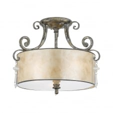 modern classic mottled silver finish ceiling light with mica shade