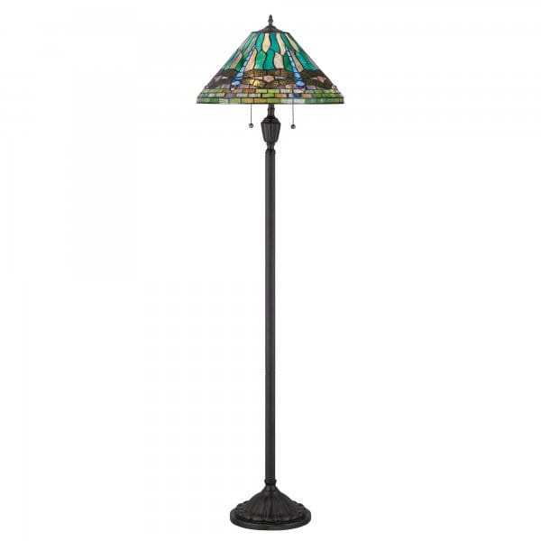 tiffany floor lamp with bronze base and blue dragonfly. Black Bedroom Furniture Sets. Home Design Ideas