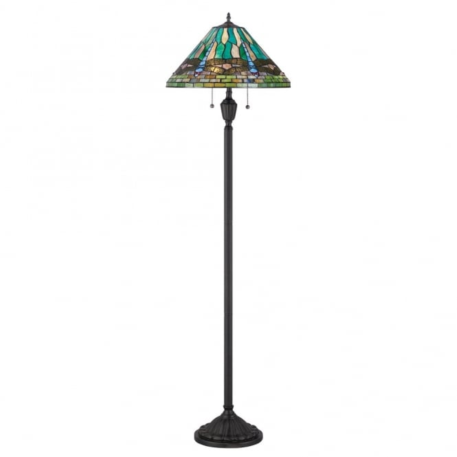 tiffany floor lamp with bronze base and blue dragonfly design tiffany. Black Bedroom Furniture Sets. Home Design Ideas