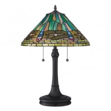 Tiffany style table lamp with bronze base and blue dragonfly shade
